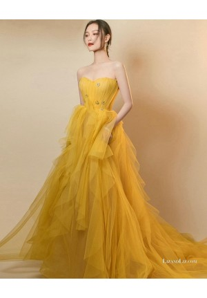 NiNi Yellow Strapless Tulle Ball Gown Celebrity Formal Prom Dresses 2020