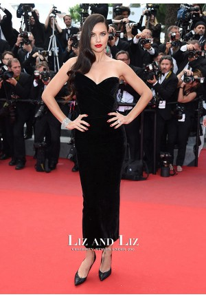 Adriana Lima Black Velvet Strapless Red Carpet Dress Cannes 2015