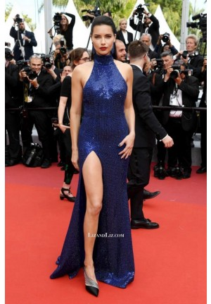 Adriana Lima Navy Blue Sequin Formal Prom Celebrity Dress Cannes 2019 Red Carpet