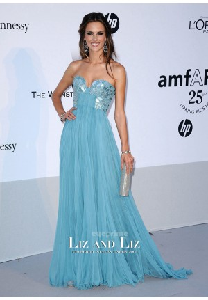 Alessandra Ambrosio Blue Strapless Chiffon Dress amfAR Cannes 2011
