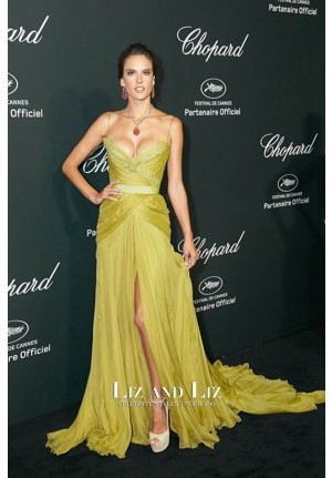 Alessandra Ambrosio Green Lace Chiffon Prom Red Carpet Dress Cannes 2014