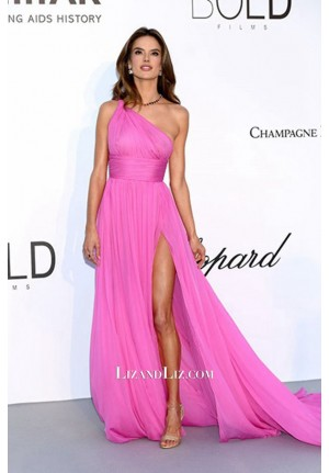 Alessandra Ambrosio Pink One-shoulder Chiffon Dress AmfAR Gala Cannes 2018