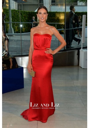 Alessandra Ambrosio Red Strapless Satin Dress CFDA Fashion Awards 2014