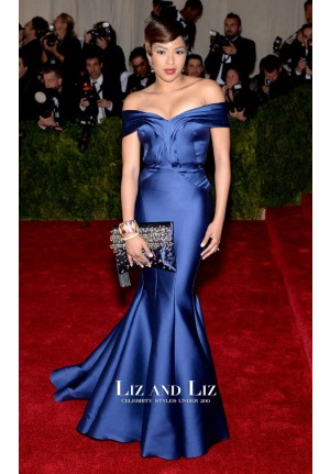 Alicia Quarles Royal Blue Off-the-shoulder Satin Dress Met Gala 2014 Red Carpet
