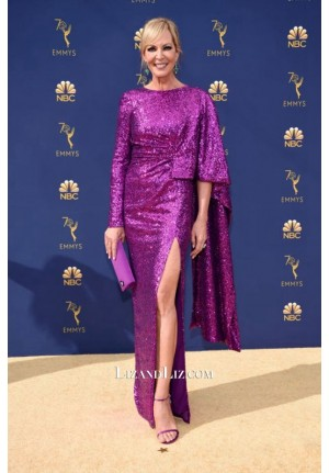Allison Janney Purple Sequin Celebrity Dress Emmy Awards 2018 Red Carpet