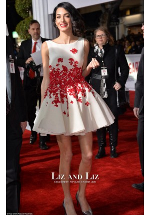 Amal Clooney Red and White Mini Cocktail Celebrity Dress Caesar Premiere