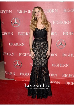 Amber Heard Black Lace Dress Palm Springs Film Festival Awards Gala 2016