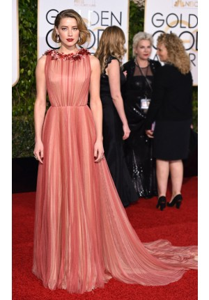 Amber Heard Red Tulle Celebrity Prom Dresses Golden Globes 2016 Red Carpet