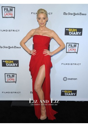 Amber Heard Red Strapless Chiffon Celebrity Dress The Rum Diary Premiere