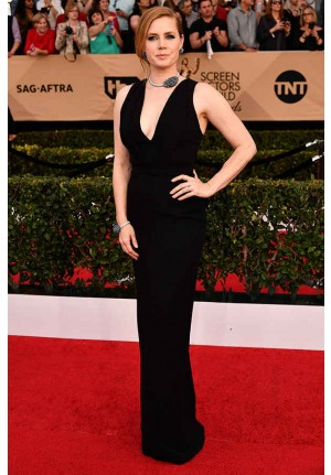 Amy Adams Black V-neck Column Formal Prom Dress SAG Awards 2017