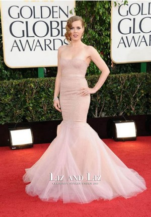 Amy Adams Nude Strapless Mermaid Lace Red Carpet Dress Golden Globes 2013