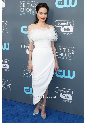 Angelina Jolie White Feather Strapless Cocktail Dress Critics' Choice Awards 2018