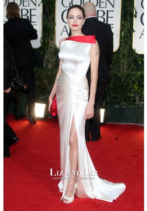 Angelina Jolie Red and White Satin Red Carpet Dress Golden Globes 2012