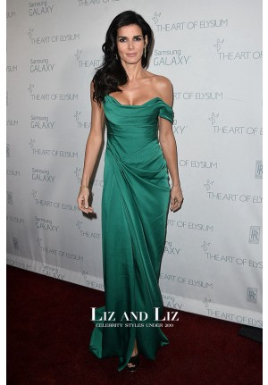 Angie Harmon Green Off-the-shoulder Dress Art of Elysium HEAVEN Gala