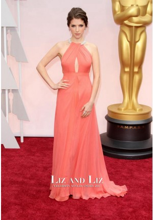 Anna Kendrick Coral Chiffon Celebrity Dress Oscars 2015 Red Carpet