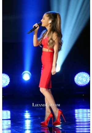 Ariana Grande Red Cut-out Cocktail Celebrity Dress A Very Grammy Christmas
