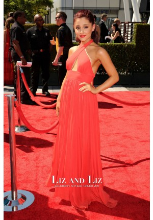 Ariana Grande Red Halter Prom Dress Creative Arts Emmy Awards 2012