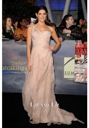 Ashley Greene Blush One-shoulder Prom Dress 'The Twilight Saga′ LA Premiere