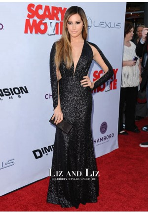 Ashley Tisdale Black Sequin Red Carpet Dress 'Scary Movie 5' LA Premiere
