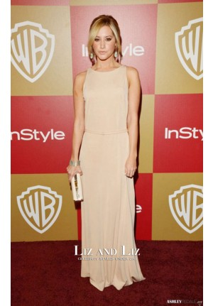 Ashley Tisdale Blush Column Celebrity Dress Golden Globes Party 2013 Red Carpet