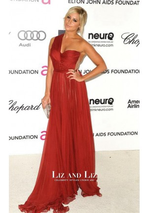 Ashley Tisdale Red One-shoulder Prom Gown Oscars 2012 Red Carpet Dress