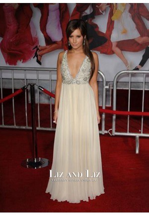 Ashley Tisdale White V-neck Prom Dress High School Musical 3 LA Premiere