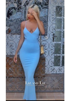 Celebrity Inspired Baby Blue Spaghetti Strap Prom Dress Evening Gown