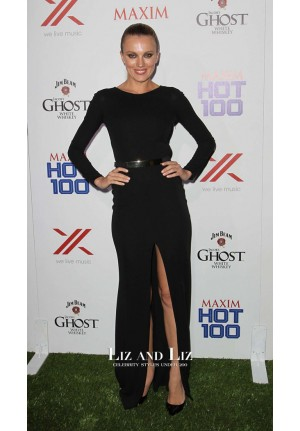 Bar Paly Black Long-sleeve Celebrity Prom Dresses Maxim Hot 100 Party
