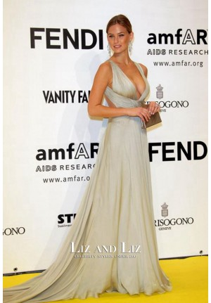 Bar Refaeli Silver Prom Dress amfAR's Inaugural Cinema Against AIDS Rome