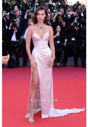 Bella Hadid Pink Strapless Satin Celebrity Prom Dress Cannes Film Festival 2017