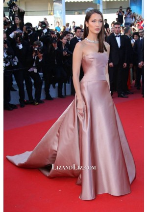 Bella Hadid Pink Strapless Satin Celebrity Dress Cannes Film Festival 2018 Red Carpet