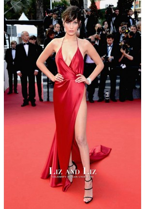 Bella Hadid Sexy Red Satin Backless Celebrity Dress Cannes 2016 Red Carpet
