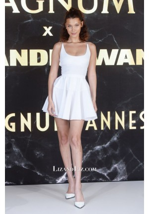 Bella Hadid Inspired Short White Mini Cocktail Party Celebrity Dress Cannes 2018