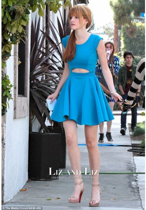 Bella Thorne Blue Cocktail Homecoming Celebrity Dress Boohoo Tea Party
