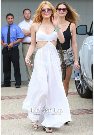 Bella Thorne White Maxi Cut-out Long Formal Party Prom Celebrity Dress