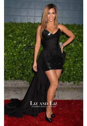 Beyonce Black Sequin Chiffon High-low Celebrity Dress Obessed Premiere