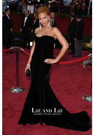 Beyonce Black Velvet Strapless Mermaid Red Carpet Dress Oscars 2005