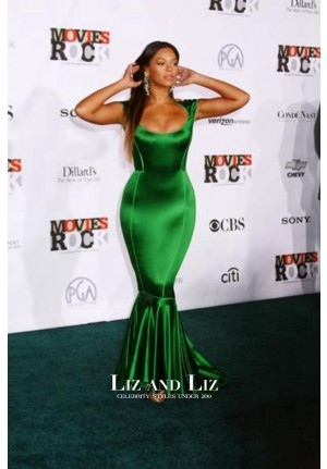 Beyonce Green Satin Mermaid Evening Prom Celebrity Dress Movies Rock