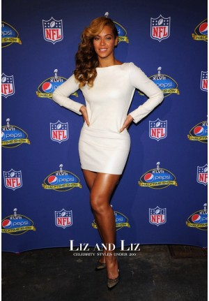 Beyonce Short White Long-sleeve Cocktail Party Dress SuperBowl Press