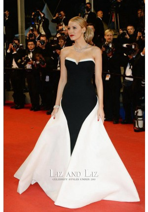 Blake Lively Black and White Strapless Gown Cannes 2014 Red Carpet Dress