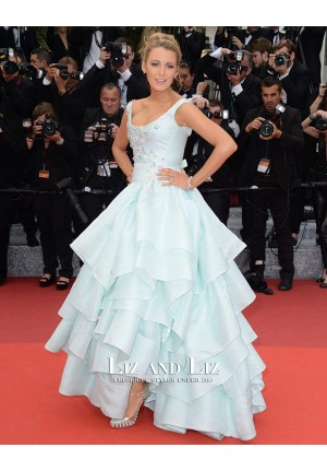 Blake Lively Blue Ball Gown Dress Cannes Film Festival 2016 Red Carpet
