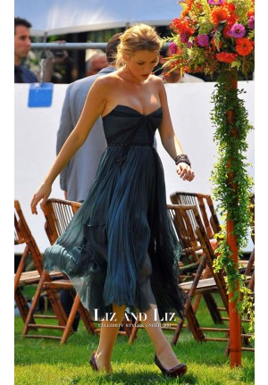 Blake Lively Short Blue Strapless Cocktail Party Prom Celebrity Dress Gossip Girl