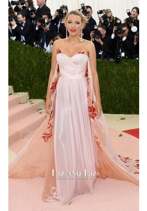 Blake Lively Pink Strapless Chiffon Flora Dress Met Gala 2016 Red Carpet