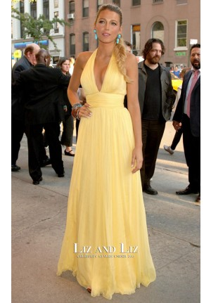 Blake Lively Yellow Halter Chiffon Dress Savages New York Premiere