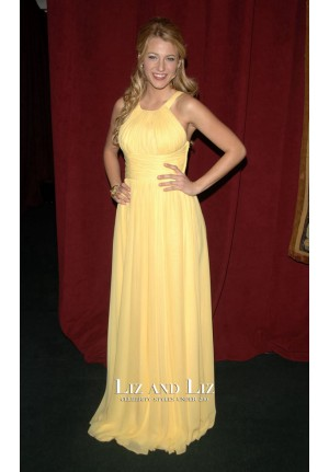 Blake Lively Yellow Chiffon Prom Gown Celebrity Dress ''7th On Sale'' Gala