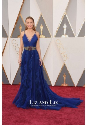 Brie Larson Royal Blue Spaghetti Strap V-neck Dress Oscars 2016 Red Carpet