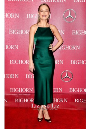 Brie Larson Green Satin Cocktail Party Dress Palm Springs Film Festival 2016