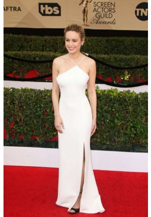 Brie Larson White Formal Celebrity Prom Dress SAG Awards 2017