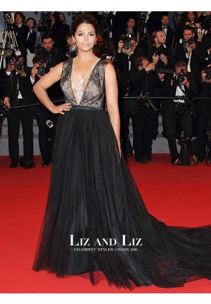 Camila Alves Black Plunging Lace Tulle Red Carpet Dress Cannes 2015