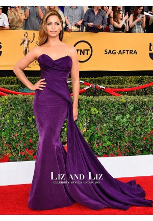 Camila Alves Purple Strapless Mermaid Red Carpet Dress SAG Awards 2015